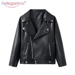 Aelegantmis nuevo suelta PU imitación chaqueta de cuero de las mujeres clásico Moto Biker chaqueta primavera otoño Lady básica P