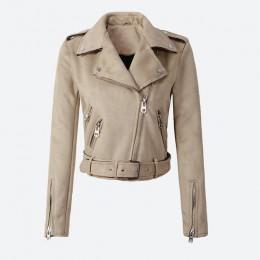 Chaqueta corta de cuero PU de imitación con cremallera y cremallera para motocicleta para mujer 2019 chaquetas de motociclista d