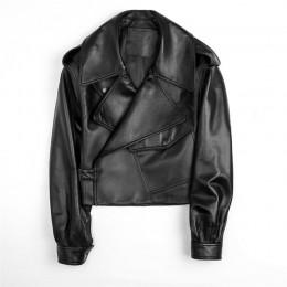 Aelegantmis negro corto suelto Pu chaqueta de cuero otoño invierno suave chaqueta de cuero de imitación de calle Casual chaqueta