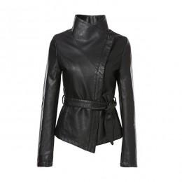 AORRYVLA chaquetas calientes para mujeres otoño 2019 chaqueta de cuero de marca gótico grande cuello vuelto fajas cortas señoras