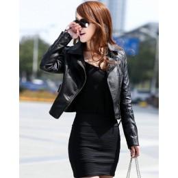 Chaqueta corta de cuero suave de imitación para mujer con cremallera de otoño chaqueta de cuero rojo PU para mujer