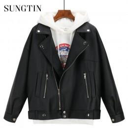 Sungtin suave suelta PU chaqueta de cuero mujeres negro motociclista motocicleta abrigo corto de cuero de imitación Streetwear m