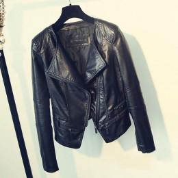 Fitailor primavera otoño señoras chaquetas de cuero de la motocicleta mujeres Turn-down Collar cremallera Slim negro Moto & Bike