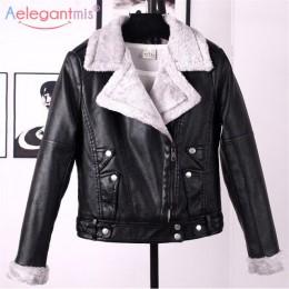 Aelegantmis Otoño Invierno chaqueta de cuero para mujer abrigo de piel de imitación para mujer chaqueta de motociclista corta de