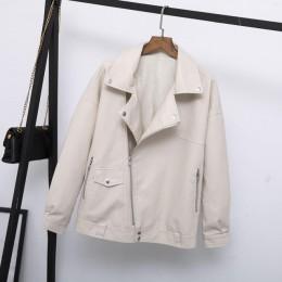 Fitailor otoño mujer chaqueta de cuero de imitación Casual suelta suave Pu motocicleta Punk cuero abrigo femenino cremallera rem