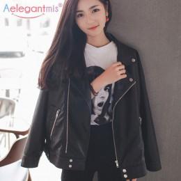 Aelegantmis mujeres sueltas chaqueta de cuero de imitación remache Retro clásico Moto Biker chaqueta mujer abrigo básico talla g