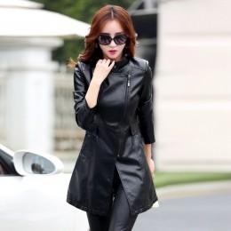 Chaqueta de abrigo de cuero M-5XL de moda de mujer delgada de retazos larga chaqueta femenina de alta calidad de la PU de la mot