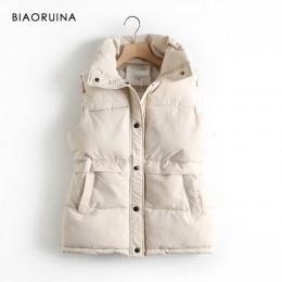 BIAORUINA mujeres estilo coreano sólido sin mangas invierno mantener caliente invierno chaleco abrigo solo mujeres pecho suelto