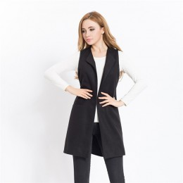 Las mujeres otoño primavera mezcla de lana chaleco Oficina chaleco largo las mujeres abrigo Casual chaleco sin mangas chaqueta P