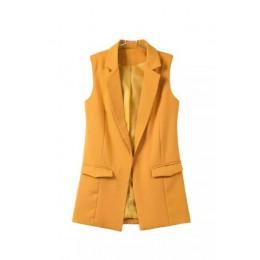 JuneLove 2019 blazer chaleco casual chaleco mujer cuello alto chaleco largo chaqueta femenina abrigo negro bolsillos Oficina señ
