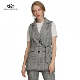 Bella filosofía mujeres chaleco chaqueta de otoño marca chaleco bolsillos puntada abierta sin mangas azul Rosa beige blazer cole