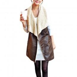 Chaleco largo de lana a la moda de invierno Chaleco de mujer Chaleco de piel de ante Chaleco de solapa sin mangas chaqueta de ab
