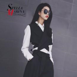 2019 nueva moda Europea de Mujeres, chaleco negro fajas botón sin mangas de las mujeres hecho niñas chaqueta Casual chaleco esti