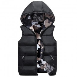 Chaleco lussily para mujer más tamaño con capucha de dos lados camuflaje cálido Chaleco de invierno chaqueta negra abrigo sin ma