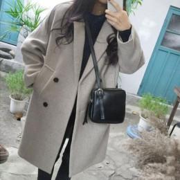 Luzuzi nuevo abrigo de mezcla de lana fina de mujer de manga larga cuello vuelto chaqueta de abrigo Casual Otoño Invierno elegan