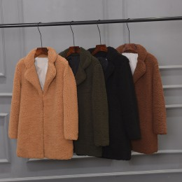 2019 abrigo de piel sintética para mujer abrigo cálido de felpa cuello de muesca chaqueta de piel suelta abrigo de invierno cárd