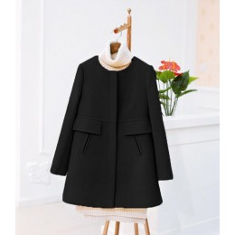 Nuevo 2019 primavera otoño más abrigo de lana de talla grande mujer suelta A-aline de manga larga cuello redondo medio largo neg
