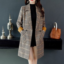 2019 Otoño Invierno lana mujer bolsillos a cuadros mezcla trabajo de oficina abrigos largos moda marca señora delgada solapa man