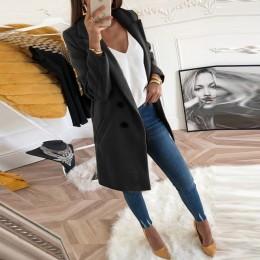 Abrigo de mezcla de otoño e invierno con cuello vuelto de lana larga chaqueta femenina abrigo de talla grande de mujer Casual wi