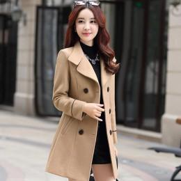 FTLZZ mujer mezcla de lana abrigo largo cálido talla grande mujer Slim Fit solapa lana abrigo Otoño Invierno Cachemira prendas d
