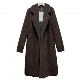 Caliente mujer abrigo de manga larga cálido solapa de longitud media de Color sólido para el invierno CGU 88