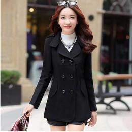 Las mujeres de lana abrigos de invierno abrigo de moda Cocoon abrigo largo de lana mujer Tops de lana Woat elegante Bodycon dobl