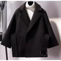 2019 Otoño Invierno mujer abrigo corto de lana nueva moda capa abrigo mujer cinturón chaqueta negro caqui albaricoque talla gran