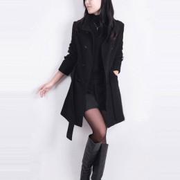 Abrigo de lana de invierno de manga larga para mujer estilo europeo de talla grande casaco feminino señoras otoño nuevos abrigos