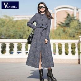 Vangull abrigo de lana las mujeres alta calidad clásico largo abrigos de lana 2019 nueva lana chaquetas trinchera ropa de invier