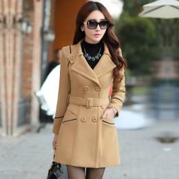 YAGENZ M-3XL Otoño Invierno chaqueta de lana de mujer Abrigos de doble pecho elegante abrigo básico bolsillos de abrigo de lana