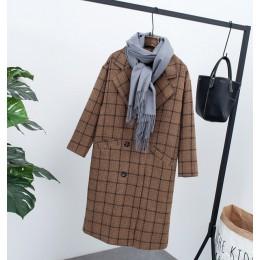 Abrigo de terciopelo a cuadros de Invierno para mujer abrigo de lana a cuadros abrigado para oficina de lana para mujer 2019 abr