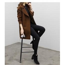 Nuevo otoño primavera mujer Abrigos casuales cuello vuelto cálido lana manga larga Slim Outwear chaqueta de Rebeca de solapa de