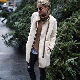 Abrigo largo de otoño invierno de manga larga de mezcla de lana con cremallera de cuello alto para mujer