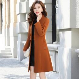 Ropa de abrigo chaqueta de otoño Casual para mujer nueva moda larga abrigo de lana de un solo pecho delgado tipo mujer invierno