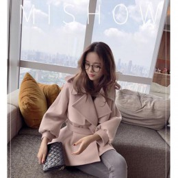Mishow 2019 invierno mujer Turn Down Collar Slim elegante chaquetas linterna manga mujer corto mezcla abrigo MX17C9514