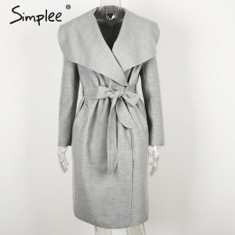 Simplee negro ruffle cálido abrigo de invierno mujeres turndown largo abrigo cuello sobretodo femenino Casual Otoño 2016 ropa de
