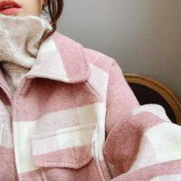 Abrigo de lana Mishow mujer 2018 otoño invierno nuevo abrigo mujer chaqueta de manga larga Casual a cuadros abrigo corto MX18D95