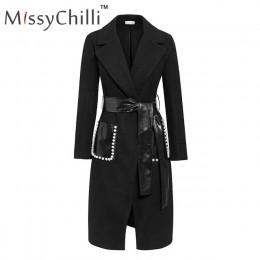 Abrigo de lana sexy negro missychili abrigo largo de cuero Pu cálido elegante abrigo de mujer Otoño Invierno elegante cuello en