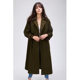 JAZZEVAR 2019 otoño invierno nuevas mujeres Casual lana mezcla gabardina gran tamaño doble Breasted X-Long abrigo con cinturón 8