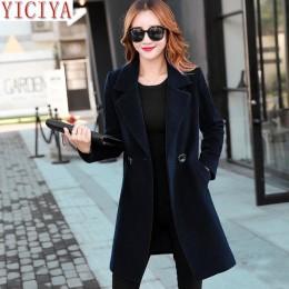 YICIYA Otoño Invierno chaqueta mujer abrigo de lana trajes talla grande 3xl 4xl grande negro Delgado mezcla ropa prendas de Vest