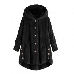 Caliente invierno más tamaño S-5XL mujeres botón abrigo mullido cola Tops con capucha pulóver suelto Oversize abrigos abrigo cál