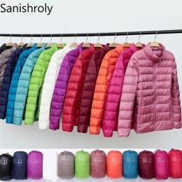 Sanishroly 2018 nuevo Otoño Invierno mujer Thin White Duck Down chaqueta Parka mujer Ultra Light Down abrigo Tops cortos Plus ta