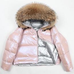 Natural collar de piel de zorro de las mujeres de invierno de 2019 chaqueta mujer corta suelta chaqueta de pato blanco abajo cha