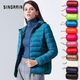 SINGRAIN mujeres chaqueta con capucha 95% pato cálido abrigo sólido portátil prendas de vestir exteriores de gran tamaño Ultra l