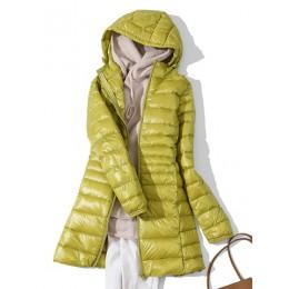 7XL invierno mujer acolchado con capucha Chaqueta larga pato blanco abajo mujer sobretodo Ultra ligero sólido chaquetas abrigo p