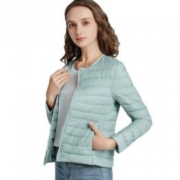 2019 nueva chaqueta compacta Ultra ligera para mujer primavera otoño Parka de manga larga ligera con plumón de pato blanco Plus