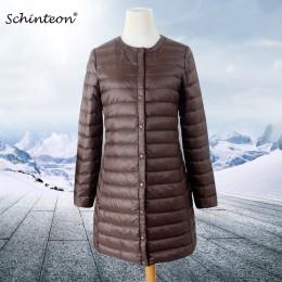 2019 Schinteon mujer chaqueta de plumón Ultra ligero blanco pato abajo abrigo largo fino interior ropa delgada otoño nueva llega