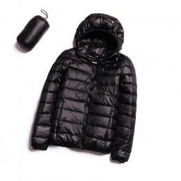 Chaqueta de plumón con capucha ultradelgada 90% ultradelgada capa de plumón de pato femenino de invierno grandes tamaños sólidos