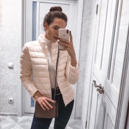 Otoño Invierno luz abajo Chaquetas Mujer 2018 sólido manga larga abrigos cálidos Chic Parkas de alta calidad Fitness abajo Chaqu