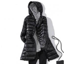 EORUTCIZ abrigo largo de invierno para mujer talla grande 7XL chaqueta con capucha Ultra ligera con capucha Vintage negro otoño